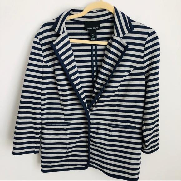 Cynthia Rowley Jackets & Blazers - Navy & Grey Striped Blazer